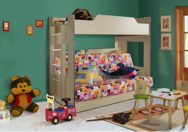 Двухъярусная кровать для детей с диваном внизу (25)