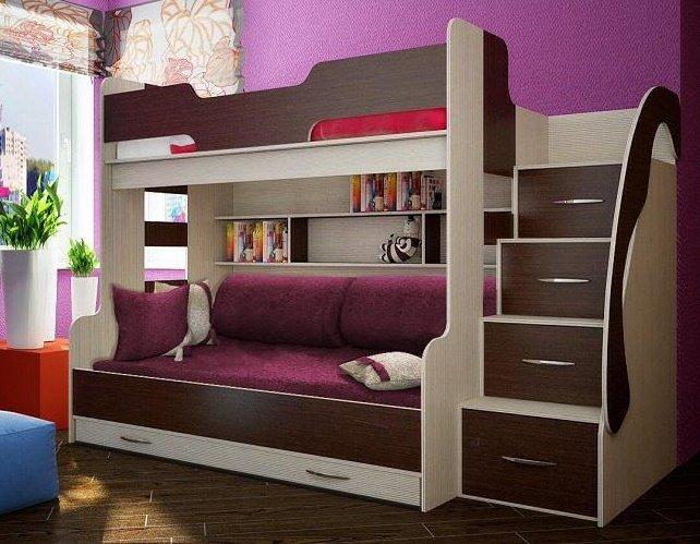 Двухъярусная кровать для детей с диваном внизу (26)