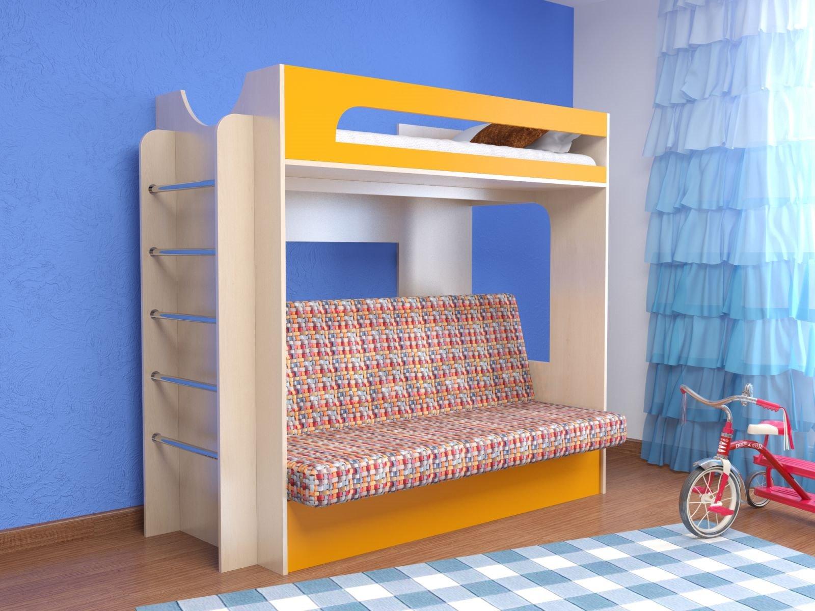 Двухъярусная кровать для детей с диваном внизу (27)