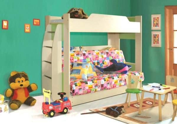 Двухъярусная кровать для детей с диваном внизу (28)