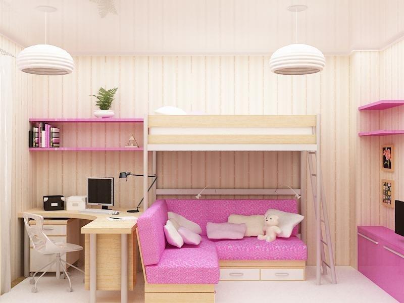 Двухъярусная кровать для детей с диваном внизу (29)