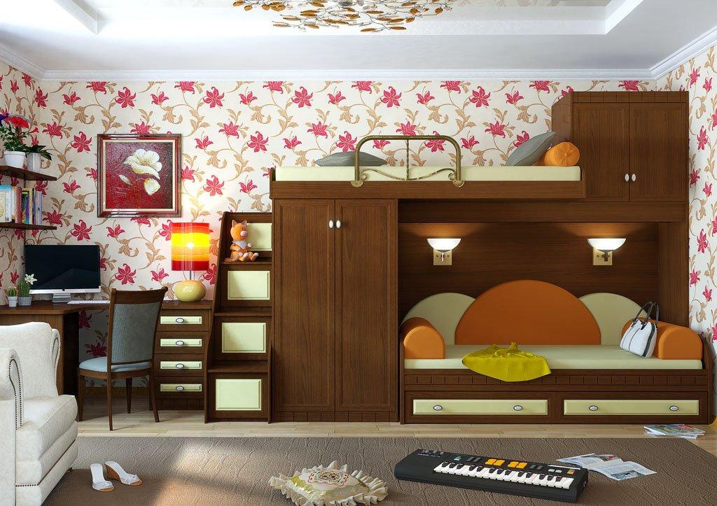 Двухъярусная кровать для детей с диваном внизу (3)