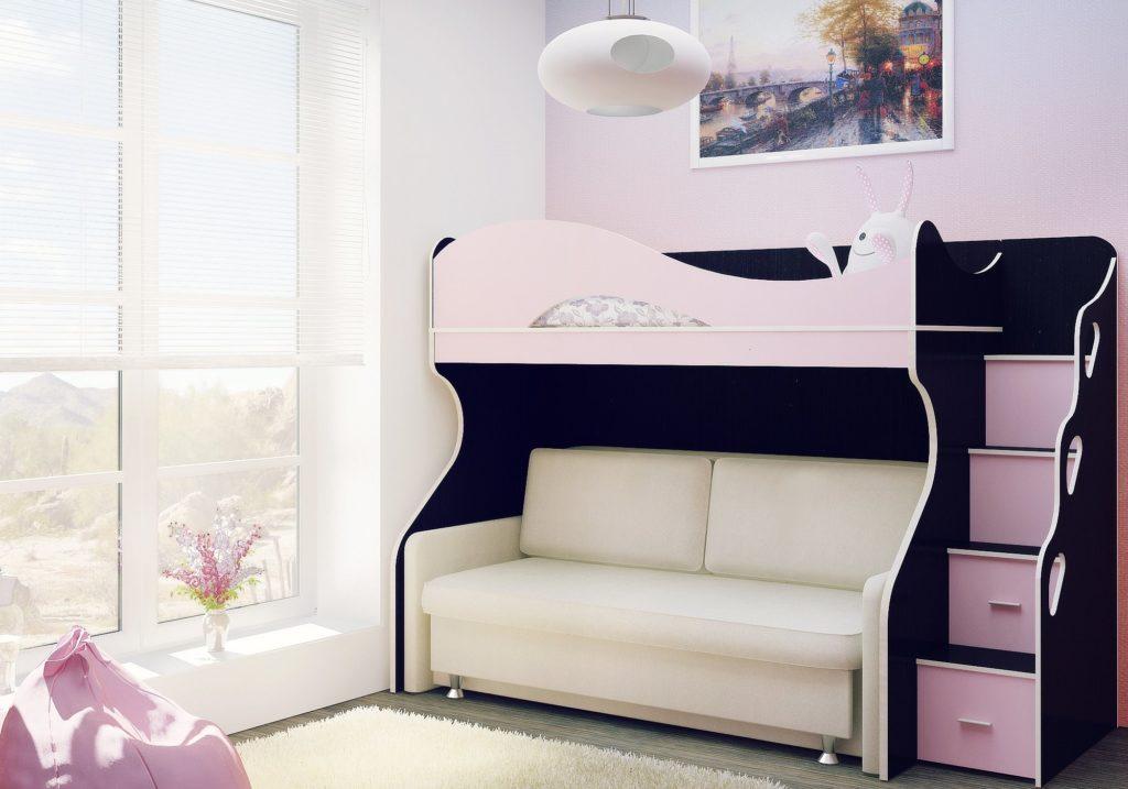 Двухъярусная детская кровать с раскладным диваном внизу