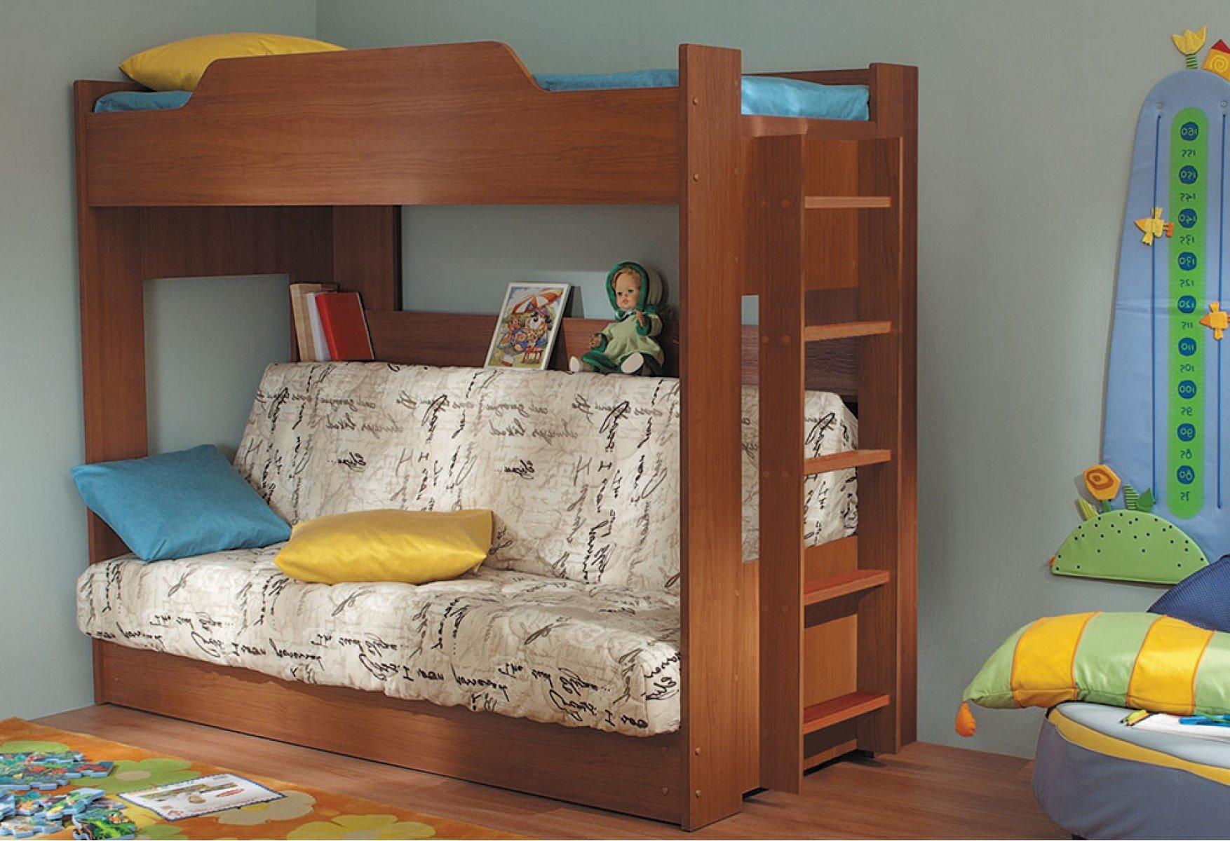 Двухъярусная кровать для детей с диваном внизу (4)
