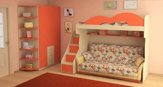 Двухъярусная кровать для детей с диваном внизу (5)