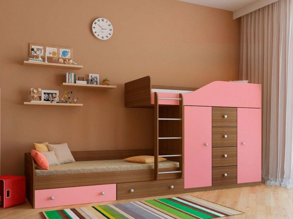 Розовая двухэтажная детская кровать для девочек со шкафом и выдвижными ящиками