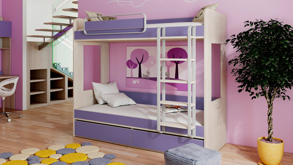 Двухэтажная кровать для детей с переставным портиком на верхнем спальном месте