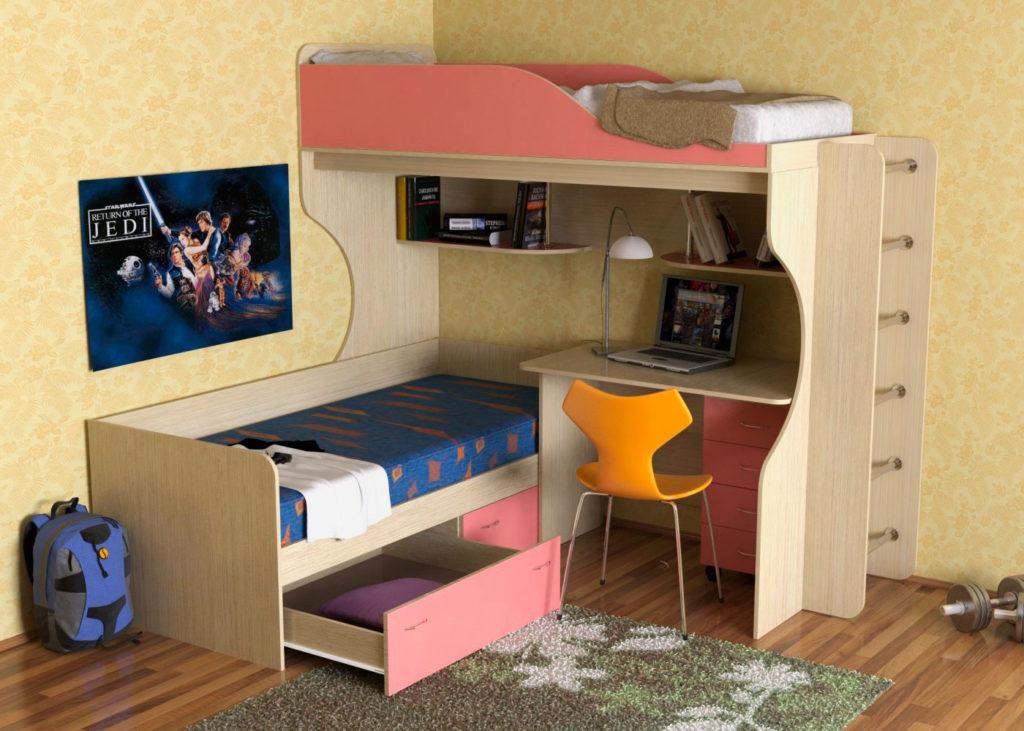 Угловая двухъярусная кровать со столом