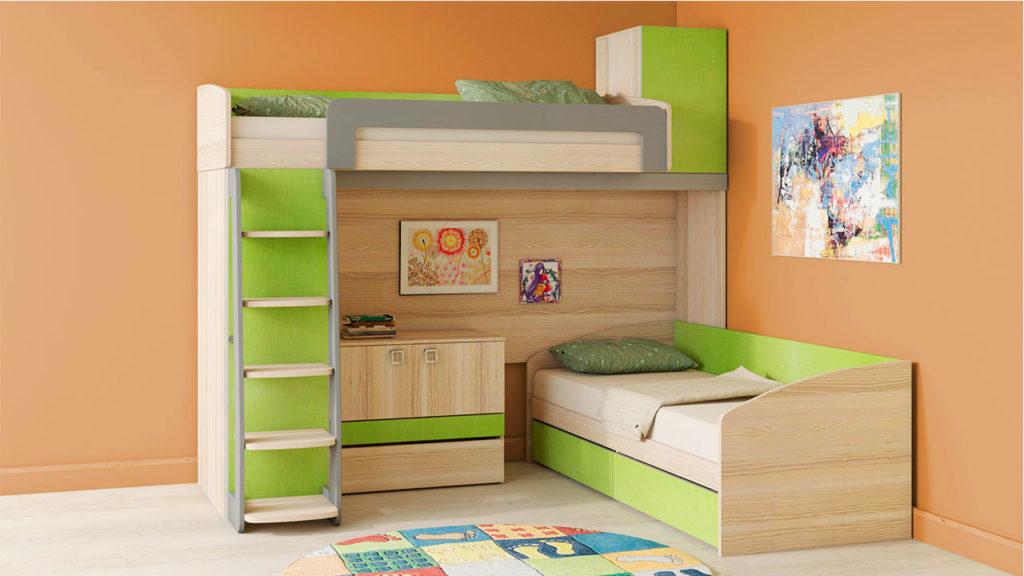 Угловая двухъярусная кровать с низкими бортиками и кушеткой внизу