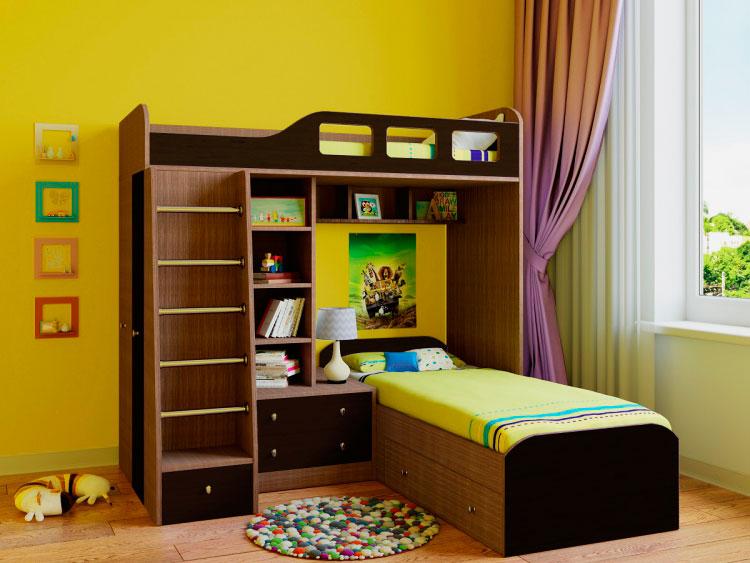 Угловая двухъярусная кровать со встроенной прикроватной тумбой и полочками в детской комнате