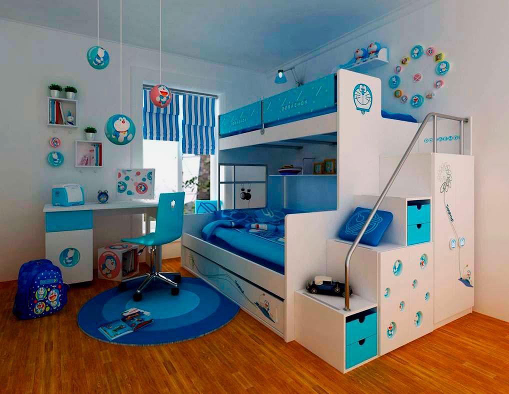 Фото детской двухъярусной кровати со ступенями и металлическим перилом