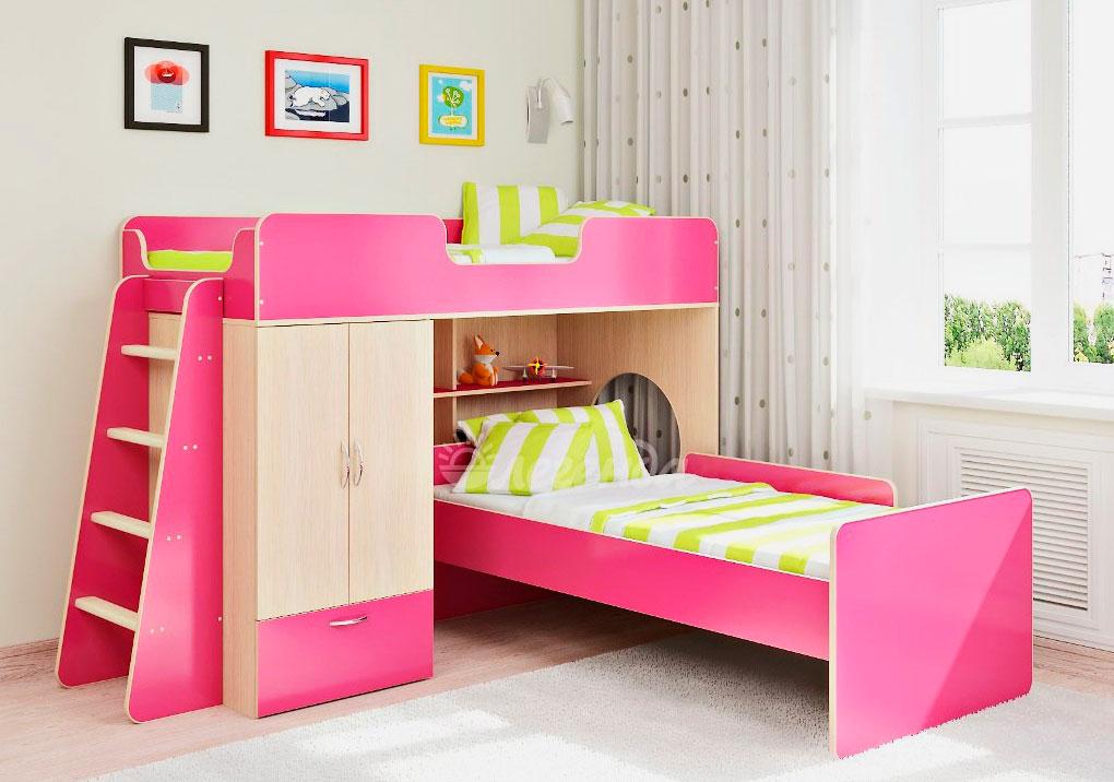 Фото розовой двухэтажной кровати для девочек