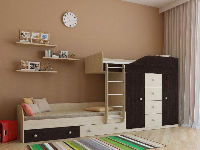 Фото двухэтажной кроватью с выдвижными ящиками и шкафом