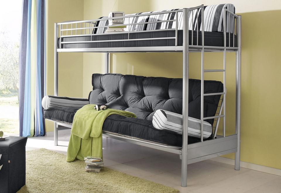Металлическая односпальная двухъярусная кровать с раскладным диваном внизу