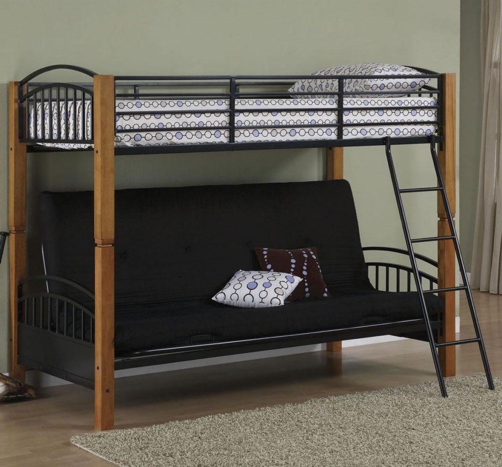 Фото двухъярусной односпальной кровати с раскладным диваном для взрослых внизу