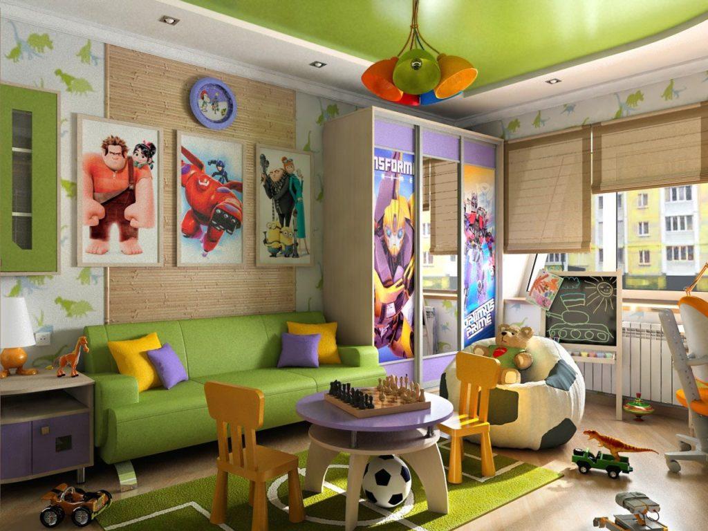 Раскладной детский диван в интерьере комнаты