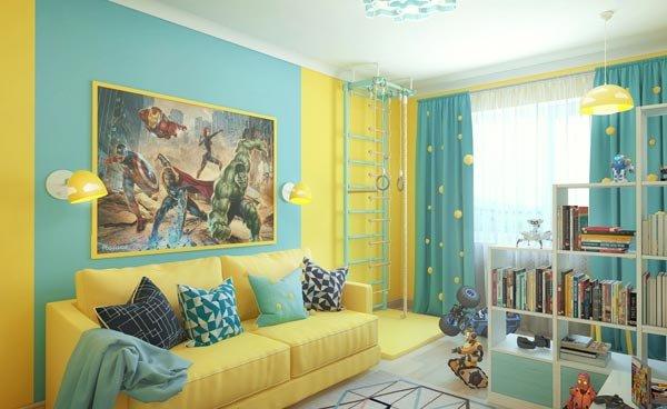 Детская комната с раскладным диваном для сна в интерьере
