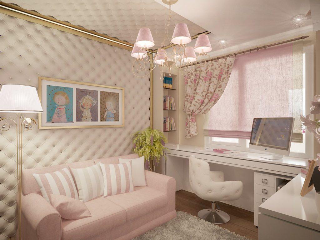 Интерьер детской комнаты для девочки с диваном для сна