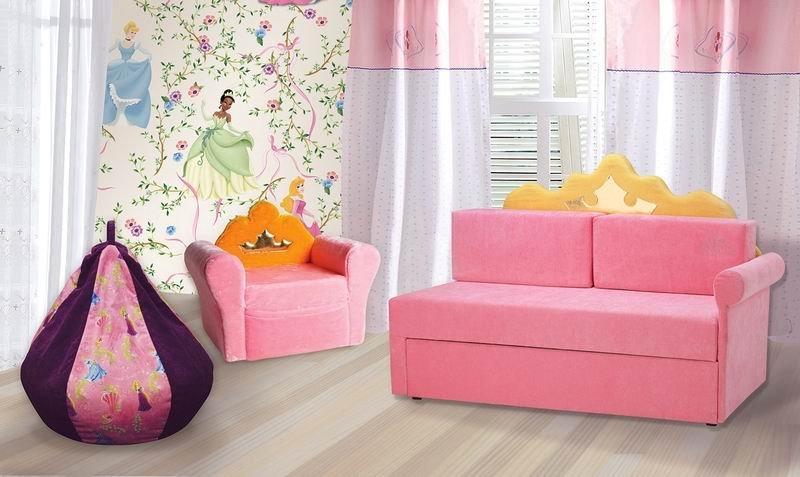 Розовый выдвижной диван-кровать для девочки
