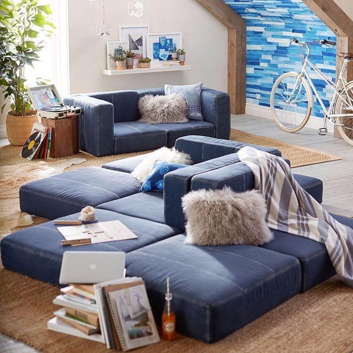 Фото модульного дивана в интерьере комнаты подростка