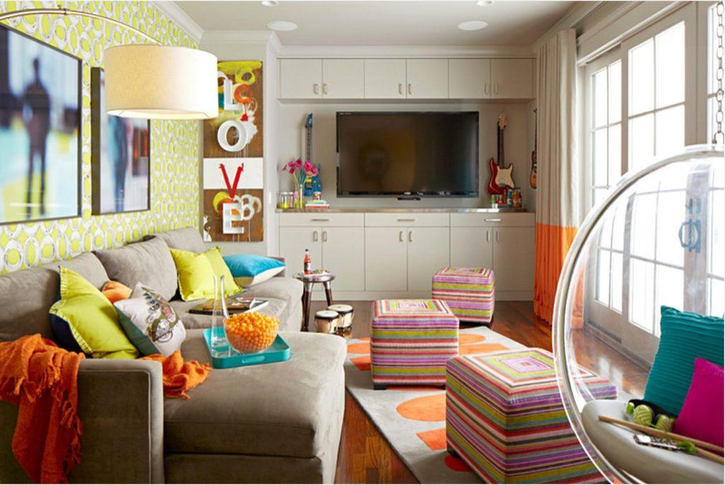 Большой диван в детской комнаты угловой формы