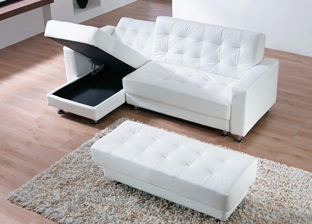 Фото раскладного дивана угловой формы с пуфом