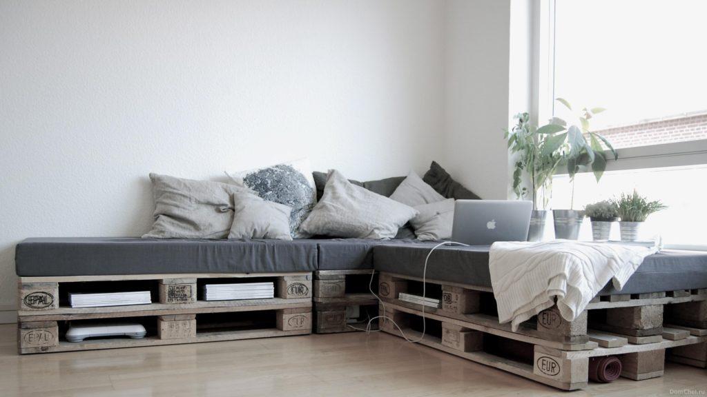 Фото углового дивана из европаллет