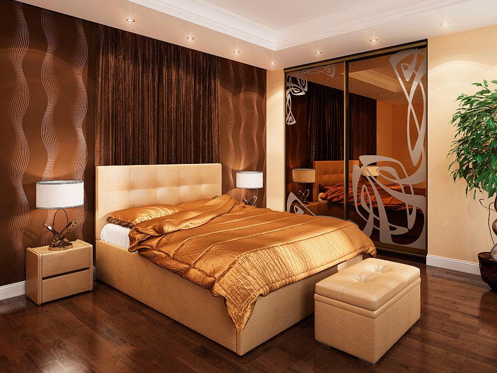 Высокая кровать с изголовьем в интерьере спальной