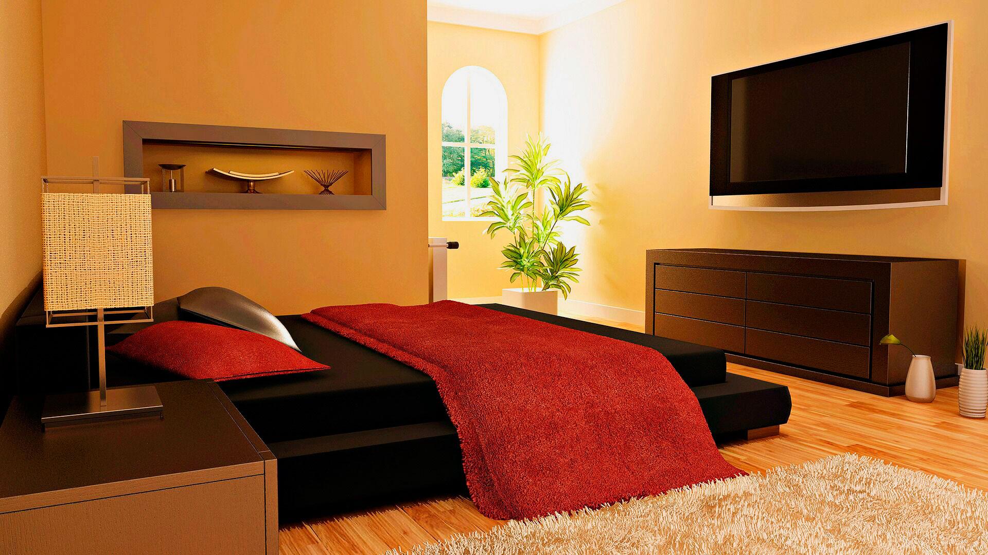 Кровать в спальной комнате (20)