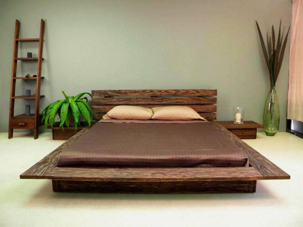 Стильная кровать с деревянным каркасом