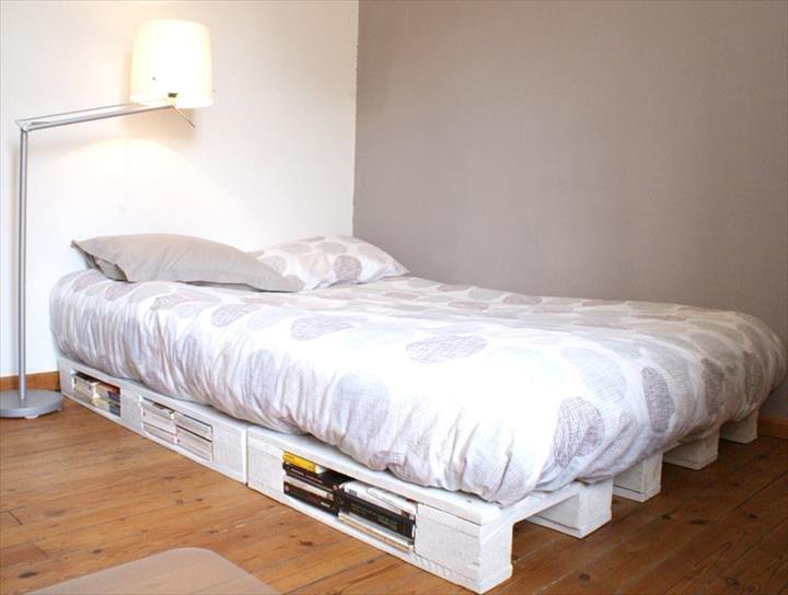 Фото кровати из паллет в интерьере комнаты