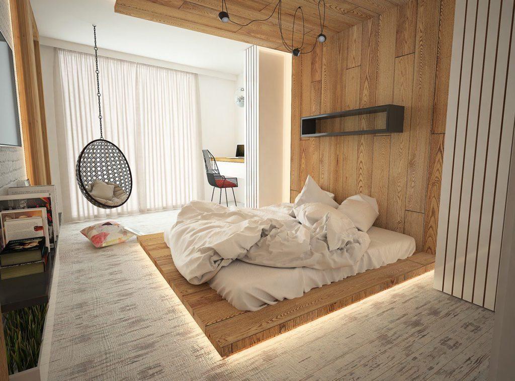 Стильная кровать-подиум