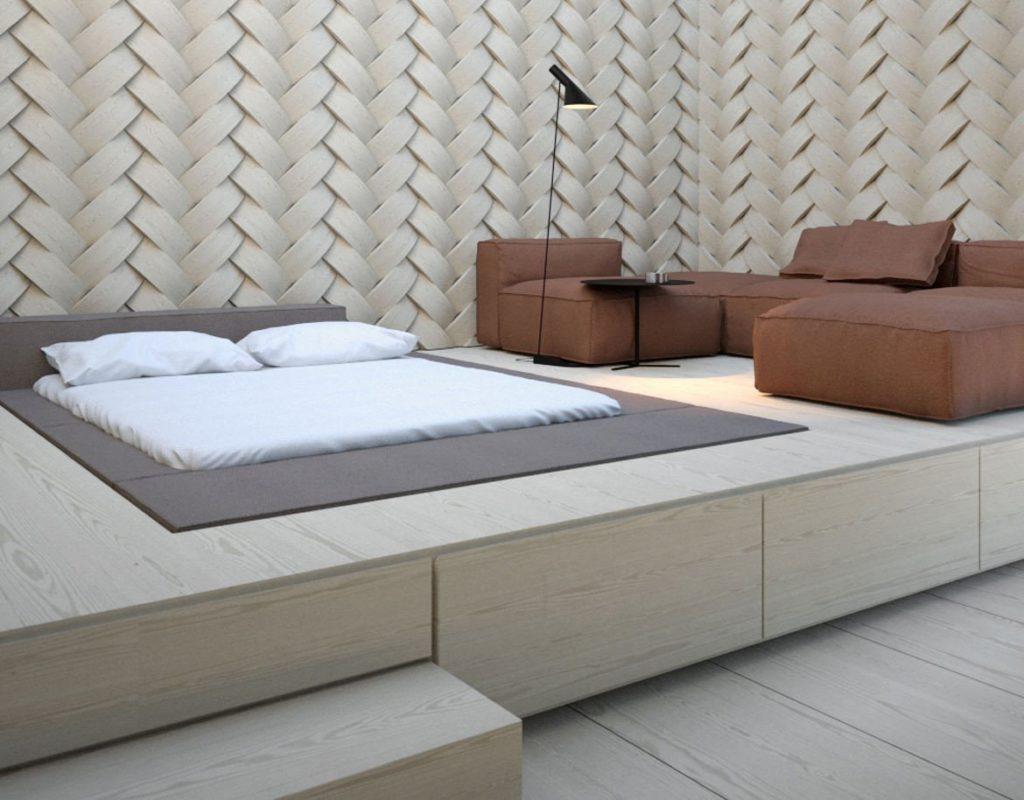 Дизайн подиума с кроватью и диваном