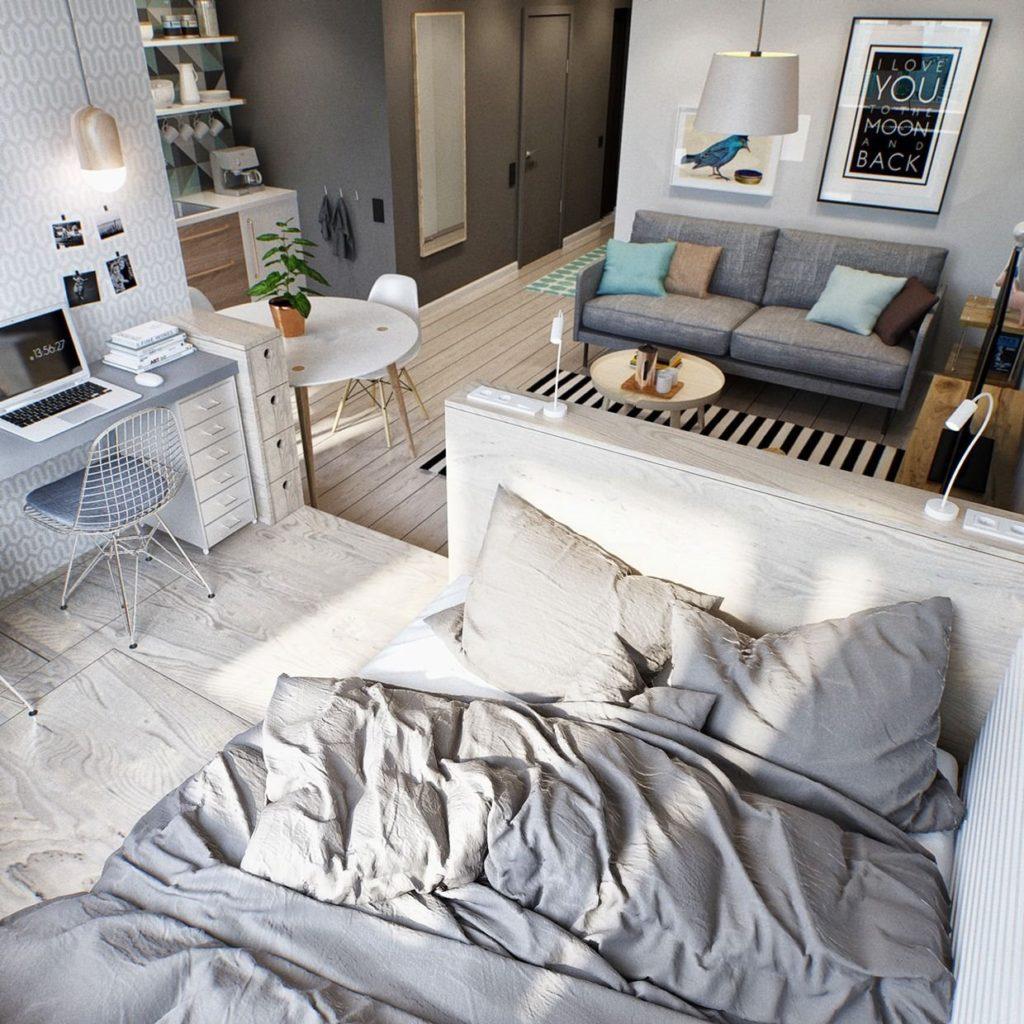 Фото спального места кровати на подиуме