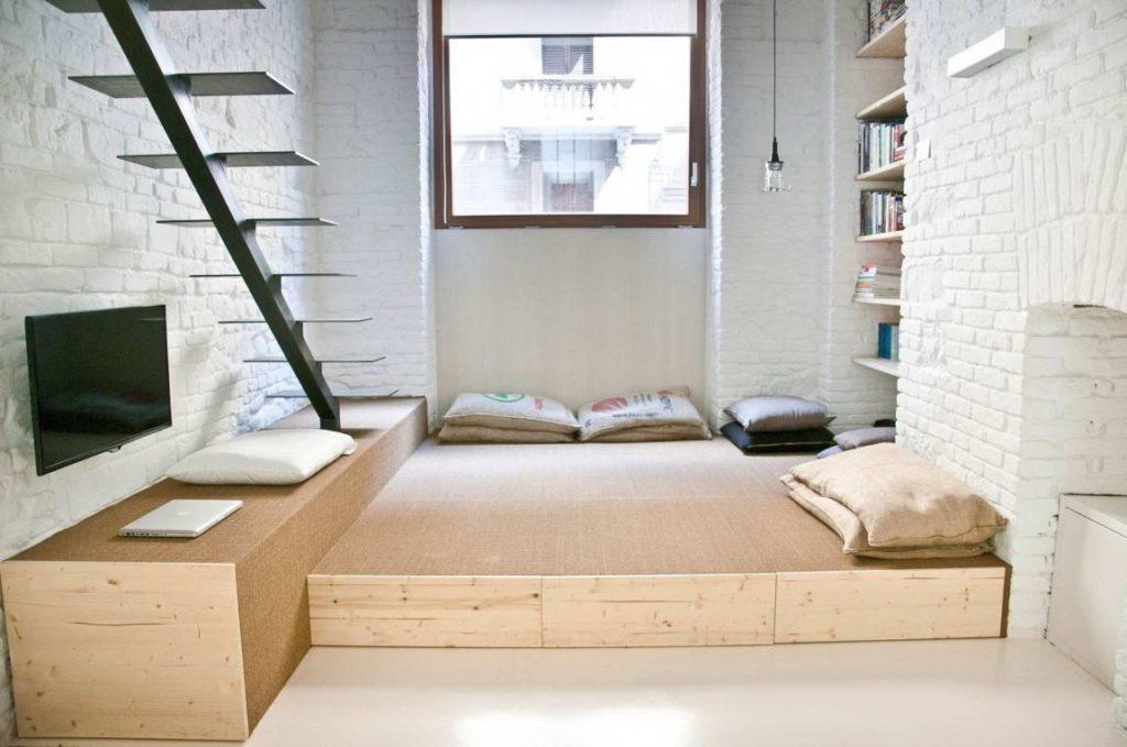 Кровать-подиум в стиле Лофт
