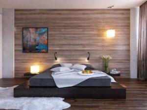 Стильная кровать-подиум в интерьере комнаты