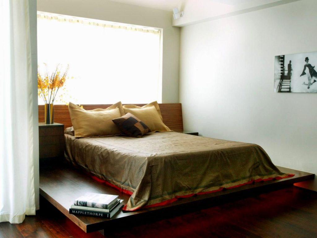 Подиум с кроватью подсвеченный снизу