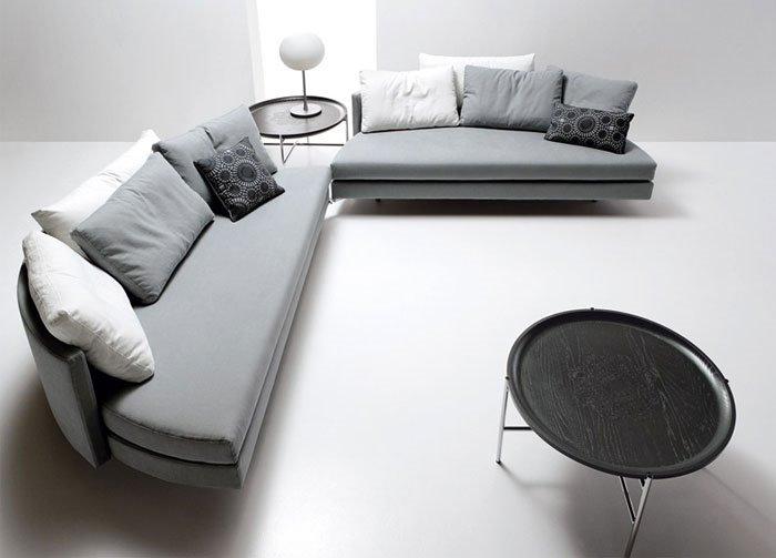Половинчатый круглый спальный диван