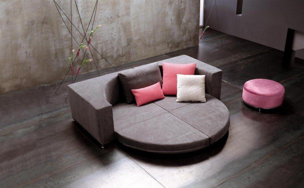 Фото круглого модульного дивана со спальным местом