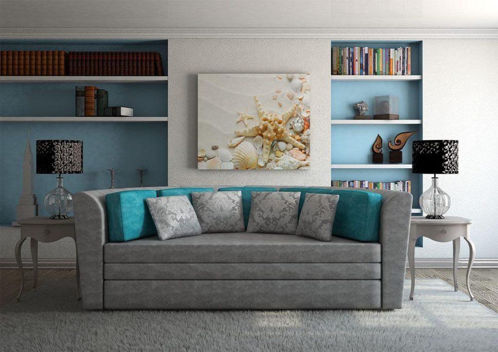 Круглый раскладной диван для сна в интерьере