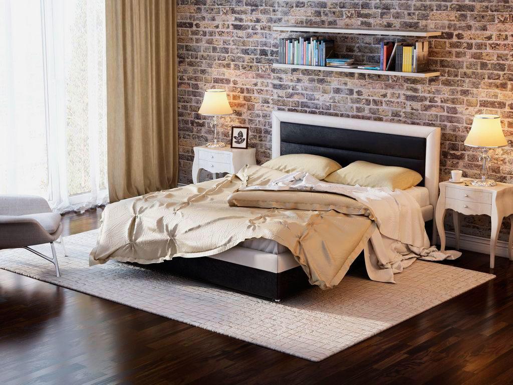 Фото двуспальной кровати в интерьере спальной комнаты