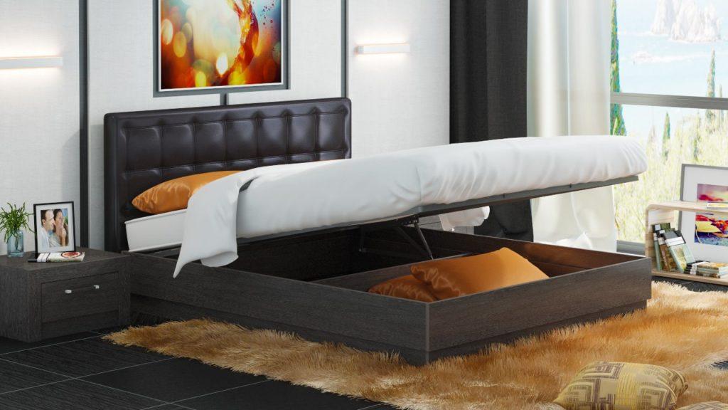 Кровать с подъёмным основанием в интерьере