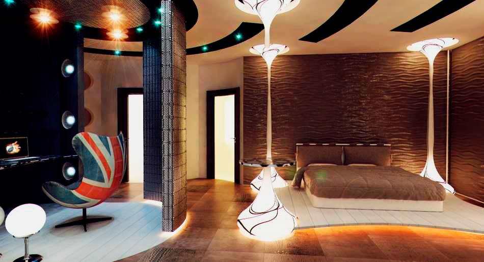 Стильный современный интерьер спальной комнаты с кроватью