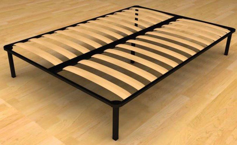 Ортопедическое основание кровати с металлическим каркасом и деревянными ламелями