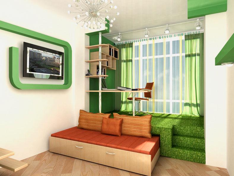 Фото подиума с встроенной кроватью выдвижного типа