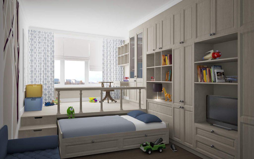 Кровать встроенная в подиум в интерьере детской комнаты
