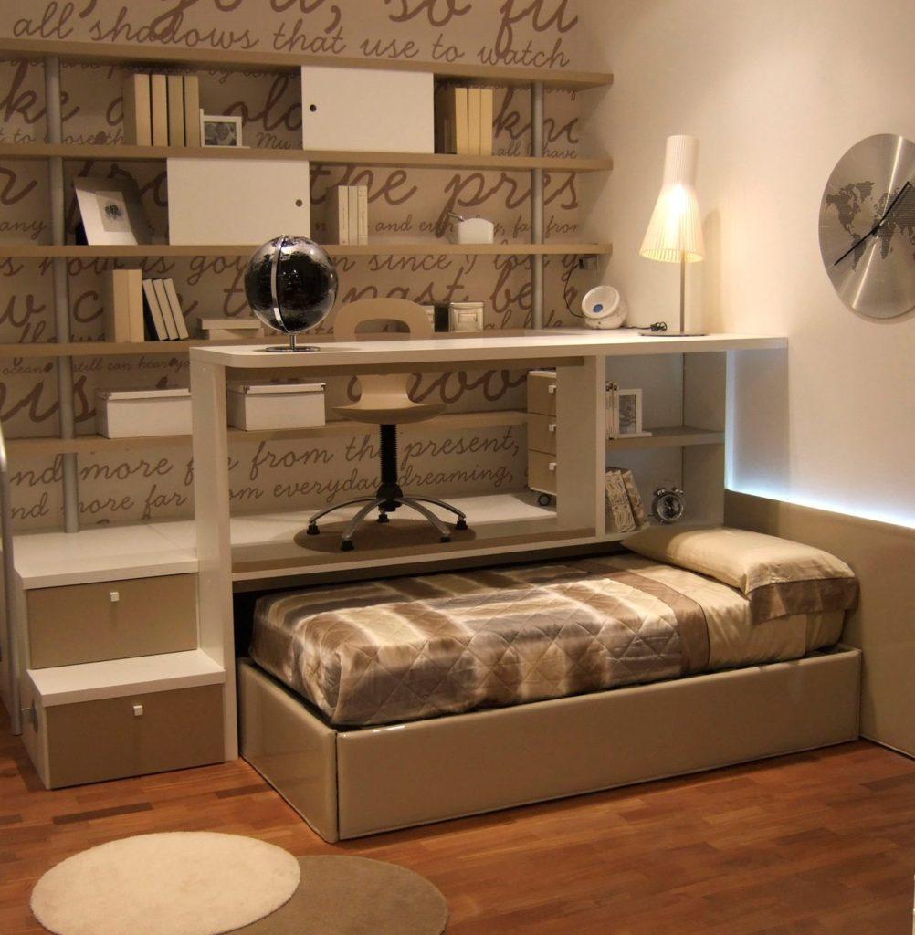 Фото односпальной выдвижной кровати встроенной в подиум