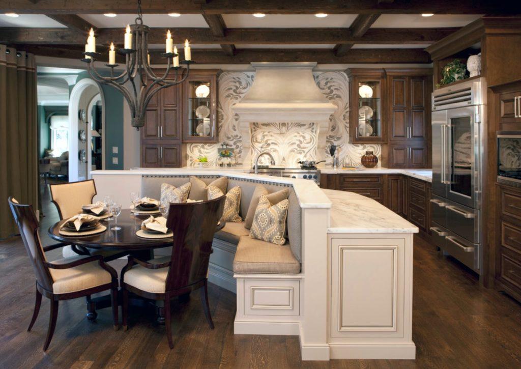 Полукруглый диван встроенный в кухонный остров