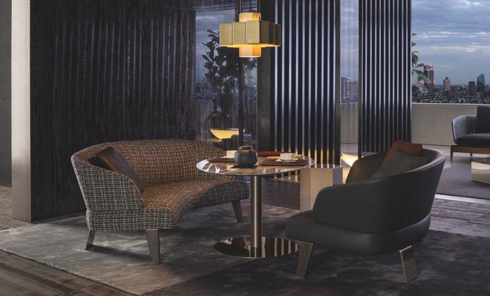 Полукруглый диван в интерьере кухни (17)