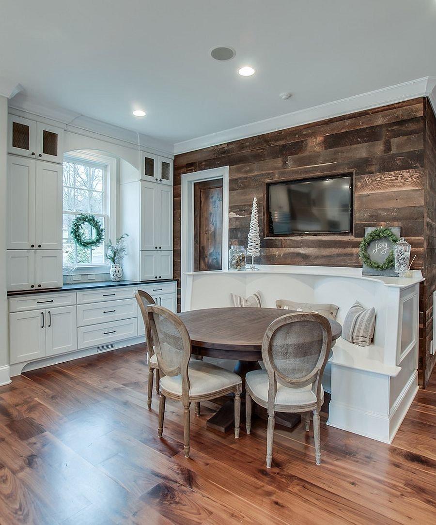 Полукруглый диван в интерьере кухни (31)